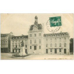 carte postale ancienne 50 COUTANCES. Hôtel de Ville 1910
