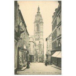 carte postale ancienne 50 COUTANCES. Rue Tancrède et Epicerie