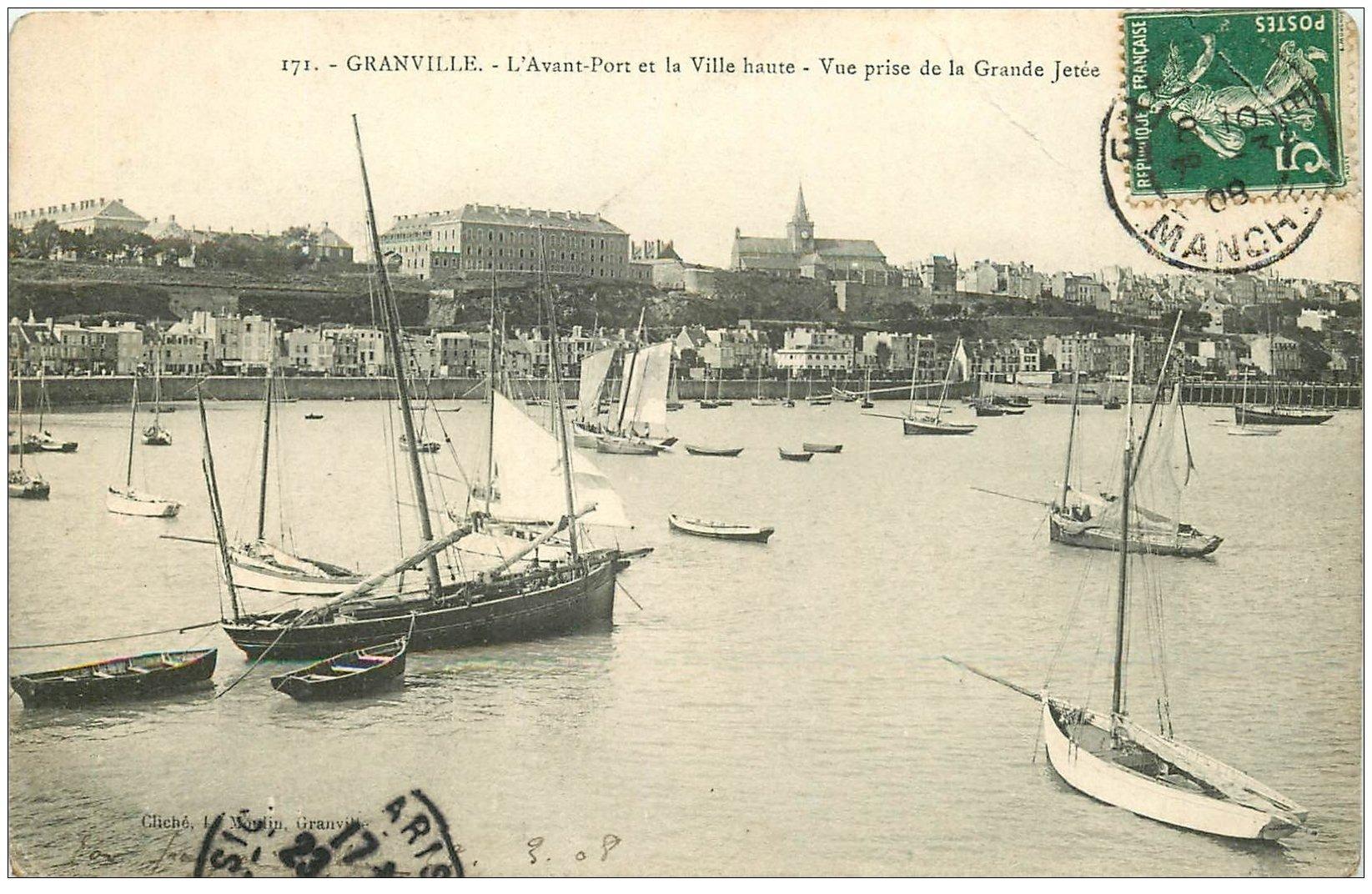 carte postale ancienne 50 GRANVILLE. Avant-Port et Ville Haute 1908