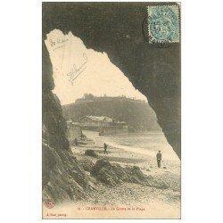 carte postale ancienne 50 GRANVILLE. La Grotte de la Plage 1905