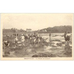carte postale ancienne 50 GRANVILLE. La Pêche au Lançon 1924