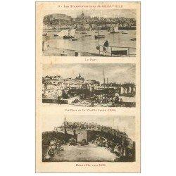 carte postale ancienne 50 GRANVILLE. Tranformations du Port de 1620, 1855 vers 1910