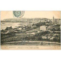 carte postale ancienne 50 GRANVILLE. Ville et Eglise Saint-paul 1906