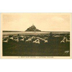 carte postale ancienne 50 LE MONT SAINT-MICHEL. Prés Salés des Grèves. Moutons Polders 1939