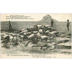 carte postale ancienne 50 LE MONT SAINT-MICHEL. Prés Salés des Grèves. Pâtres et Moutons 1947 LL 25 bis