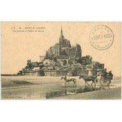 carte postale ancienne 50 LE MONT SAINT-MICHEL. Transports arrivée des voitures de Genets 23