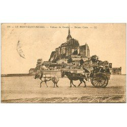 carte postale ancienne 50 LE MONT SAINT-MICHEL. Transports la voiture de Genets 1927