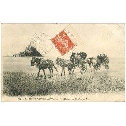 carte postale ancienne 50 LE MONT SAINT-MICHEL. Transports les voitures de Genets 1910
