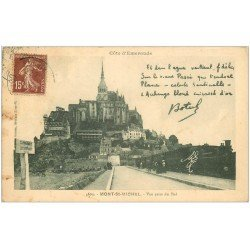 carte postale ancienne 50 LE MONT SAINT-MICHEL. Transports Train texte de Botrel