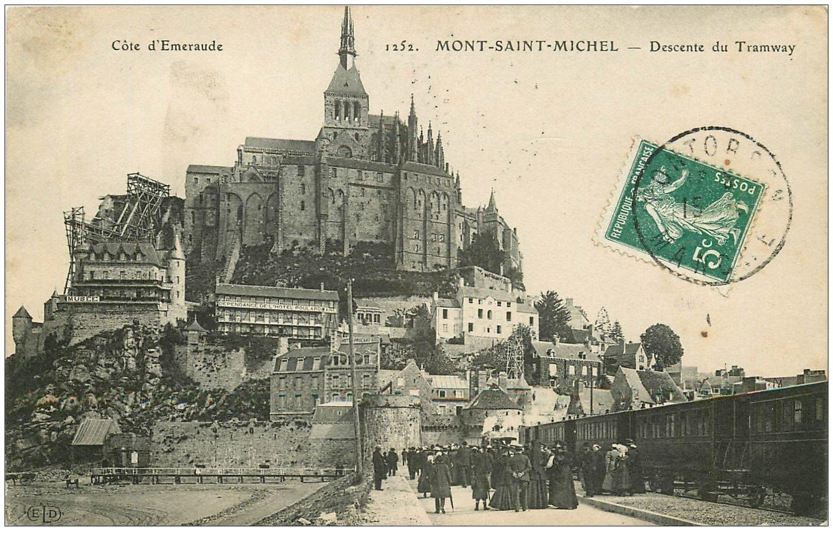 carte postale ancienne 50 LE MONT SAINT-MICHEL. Transports Tramway 1910