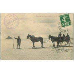 carte postale ancienne 50 LE MONT SAINT-MICHEL. Transports traversée des Genêts 1912