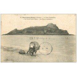 carte postale ancienne 50 LE MONT-SAINT-MICHEL. La Pêche des Coques 1905. Métiers de la Mer