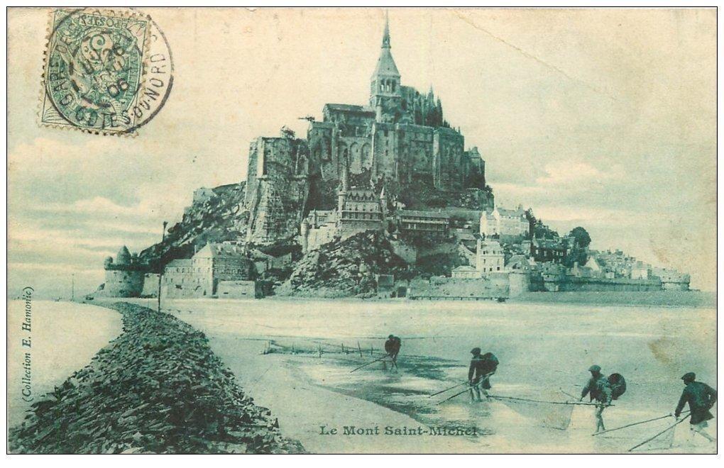 carte postale ancienne 50 LE MONT-SAINT-MICHEL. Pêcheurs de Crevettes et Crustacés 1906. Métiers de la Mer