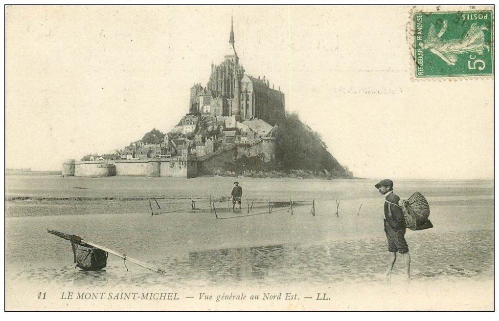 carte postale ancienne 50 LE MONT-SAINT-MICHEL. Pêcheurs de Crustacés et Coques 1915. Métiers de la Mer