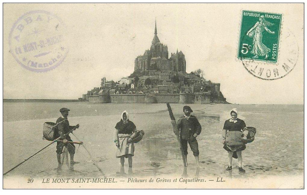 carte postale ancienne 50 LE MONT-SAINT-MICHEL. Pêcheurs des Grèves et Coquetières 1910. Métiers de la Mer