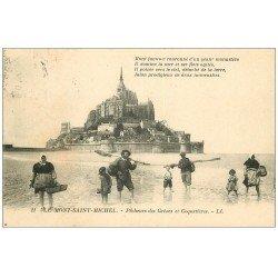carte postale ancienne 50 LE MONT-SAINT-MICHEL. Pêcheurs des Grèves et Coquetières 1922. Métiers de la Mer