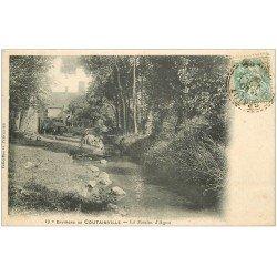 carte postale ancienne 50 LE MOULIN D'AGON 1906. Lavandières près Coutainville