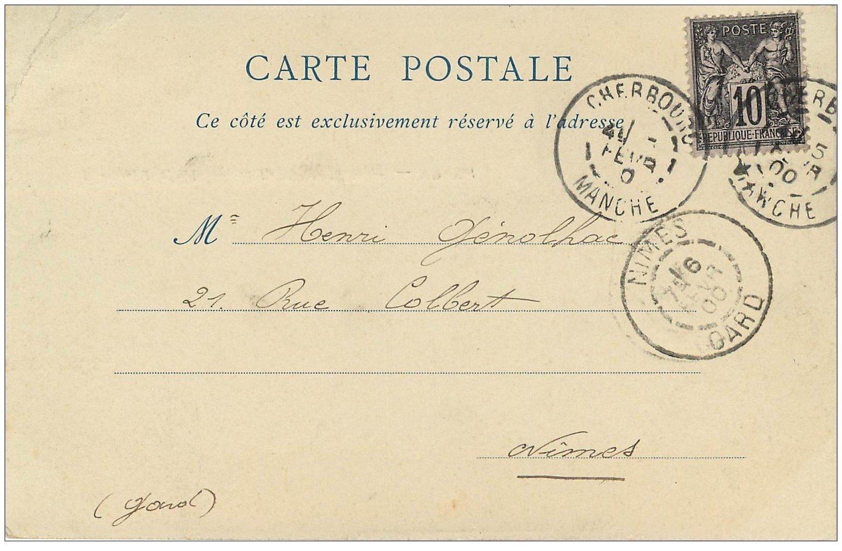 carte postale ancienne 50 LE NEZ DE JOBOURG. Timbre 10 Centimes 1900