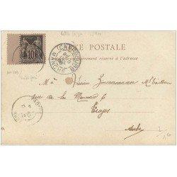 carte postale ancienne 50 MARTINVAST. Le Château. Timbre 10 Centimes 1900 violet