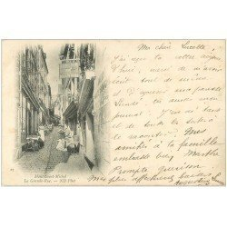 carte postale ancienne 50 MONT-SAINT-MICHEL. Au Cheval Blanc Grande Rue 1902