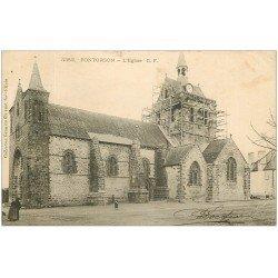 carte postale ancienne 50 PONTORSON. Echaffaudages Eglise en rénovation 1904