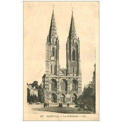 carte postale ancienne 50 SAINT-LO. Cathédrale. Timbre manquant