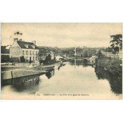 carte postale ancienne 50 SAINT-LO. La Vire et Quai 1913