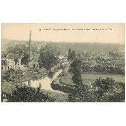 carte postale ancienne 50 SAINT-LO. Papeterie et Gare