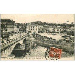 carte postale ancienne 50 SAINT-LO. Place Alluvions Rue et Pont de la Vire 1915