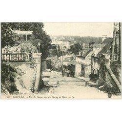 carte postale ancienne 50 SAINT-LO. Rue des Noyers 1916 vue du Champs de Mars