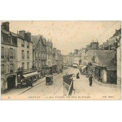 carte postale ancienne 50 SAINT-LO. Rue Torteron 1916 Gendarmerie Nationale et Epicerie Parisienne