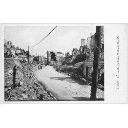 carte postale ancienne 50 SAINT-LO. Rue Torteron et Cinéma Majestic bombardés. Carte Photo émaillographie 1948