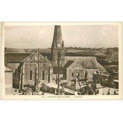 carte postale ancienne 50 SAINT-PAIR-SUR-MER. Eglise et Bureau des Cars