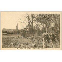 carte postale ancienne 50 SAINT-PAIR-SUR-MER. Eglise et Pêcheur sur la Rivière
