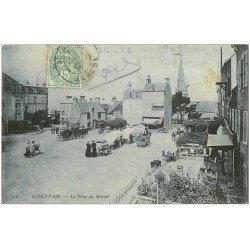 carte postale ancienne 50 SAINT-PAIR-SUR-MER. La Place du Marché 1905
