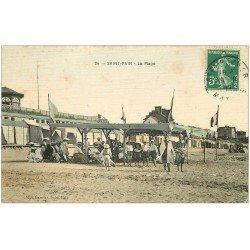 carte postale ancienne 50 SAINT-PAIR-SUR-MER. La Plage 1912 carte toilée