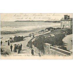 carte postale ancienne 50 SAINT-PAIR-SUR-MER. La Plage et Granville 1904