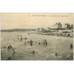 carte postale ancienne 50 SAINT-PAIR-SUR-MER. Les Bains à Marée basse