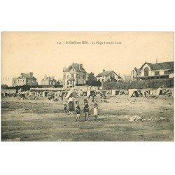 carte postale ancienne 50 SAINT-PAIR-SUR-MER. Plage à Marée basse 1923