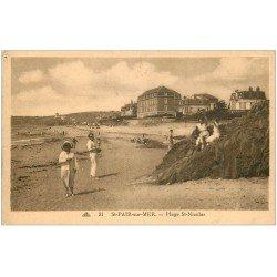 carte postale ancienne 50 SAINT-PAIR-SUR-MER. Plage Saint-Nicolas 1938