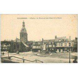 carte postale ancienne 50 VILLEDIEU. Eglise Monument aux Morts