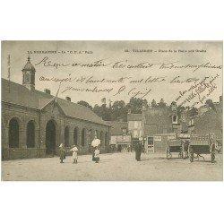 carte postale ancienne 50 VILLEDIEU. Place Halle aux Grains 1904