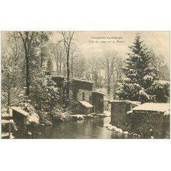 carte postale ancienne 50 VILLEDIEU-LES-PEOLES. Neige sur la Sienne 1904