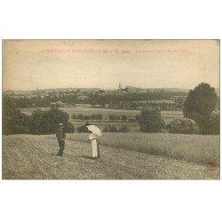 carte postale ancienne 52 LONGEVILLE-SUR-AINE. Couple dans les Prés 1922