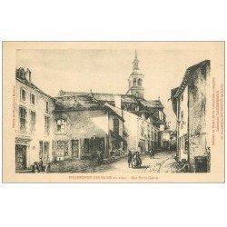 carte postale ancienne 52 BOURBONNE-LES-BAINS. Rue Porte-Galon. Publicitaire Jaquemin confections