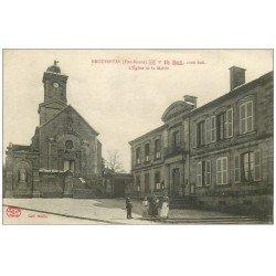 carte postale ancienne 52 BROUSSEVAL. Eglise et Mairie 1918