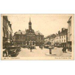 carte postale ancienne 52 CHAUMONT. Place Hôtel de Ville 1938