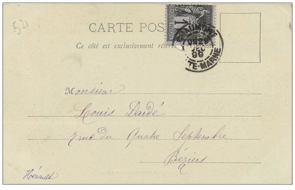 carte postale ancienne 52 CHAUMONT. Portai Eglise. Timbre 1 Centime 1899