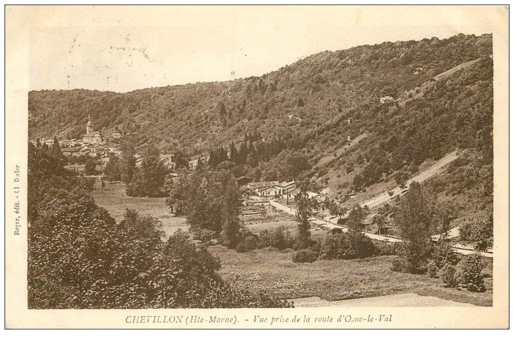 carte postale ancienne 52 CHEVILLON. Route d'Osne le Val 1937