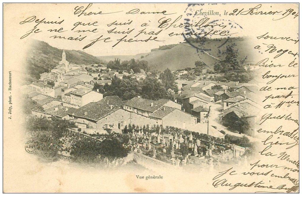 carte postale ancienne 52 CHEVILLON. Village et Cimetière 1904